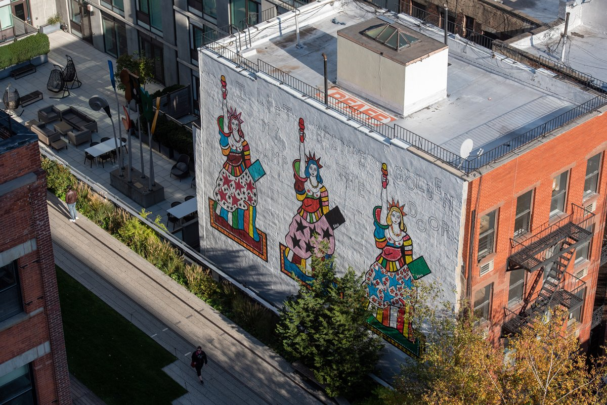 "After over 20 months on the High Line at 22nd Street, this week is your last chance to see Dorothy Iannone's mural of the #StatueofLiberty ""I Lift My Lamp Beside the Golden Door""! Photos by @timothyschenck"
