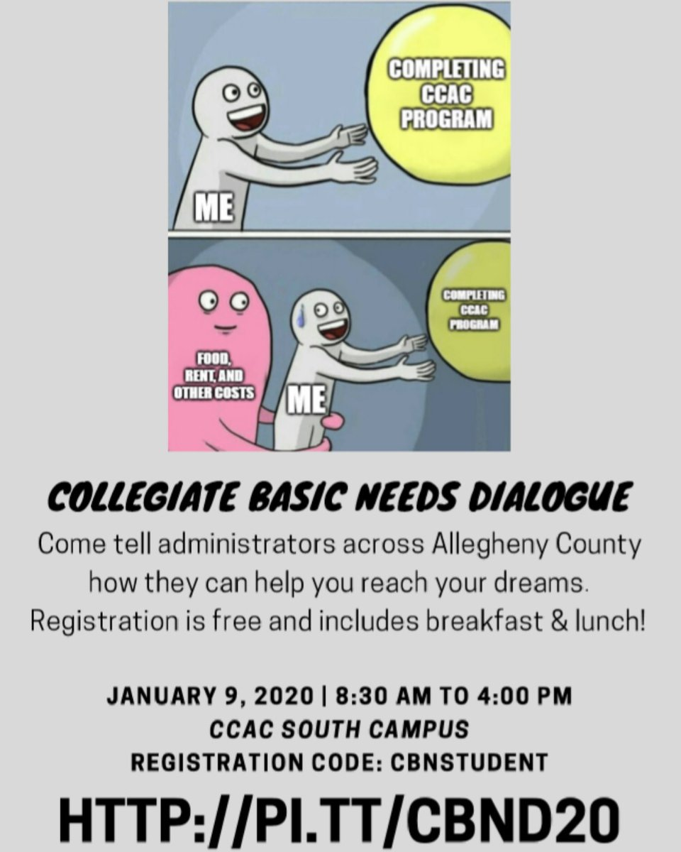 Has something in your life negatively affected your education? PCHE - Pittsburgh Council on Higher Education wants to hear from you on January 9. Attendance is free and includes breakfast & lunch. #basicneeds #studentsuccess #collegeaffordability #endhunger