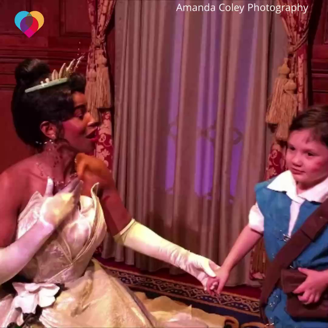 6-year-old Jackson has autism, but he opened up around Disney Princess Tiana – adorably asking her to plant a kiss on his cheek ❤️ cbsn.ws/3572BPa