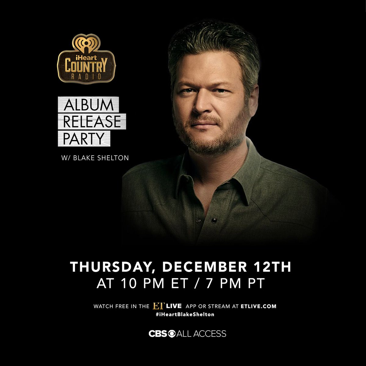 Y'all wanna throw it down on a THURSDAY night? Got 200 tickets to my album release party on 12/12. First come, first serve tickets! Get em now!  https://www.eventbrite.com/e/blake-shelton-iheartcountry-album-release-party-tickets-85504597553…