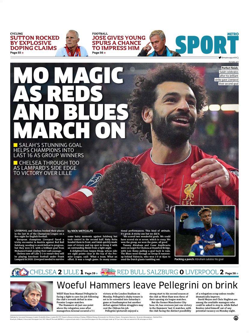 ماذا قالت الصحف الانجليزية عن صلاح بعد هدفه الرائع في دوري الأبطال