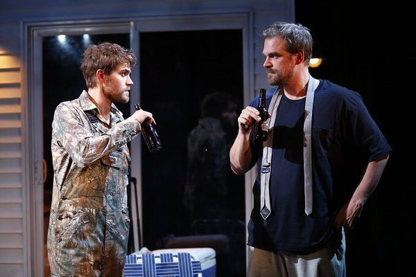 """Paul Wesley and David Harbour perform in the play """"Cal In Camo"""" (2016)"""