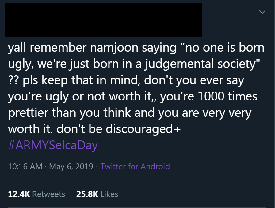 The quote doesnt appear with his name before May 2019 where it was used in an #ArmySelcaDay post that got 12k rts and 25k likes