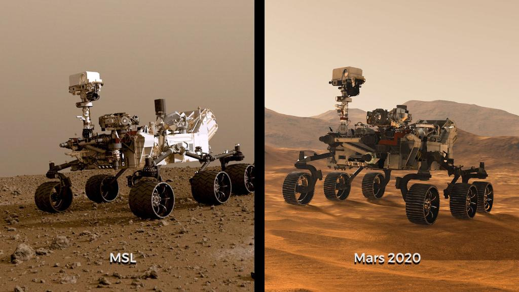 Illustrations of NASA's Curiosity and Mars 2020 rovers. While the newest rover borrows from Curiosity's design, each has its own role in the ongoing exploration of Mars and the search for ancient life.