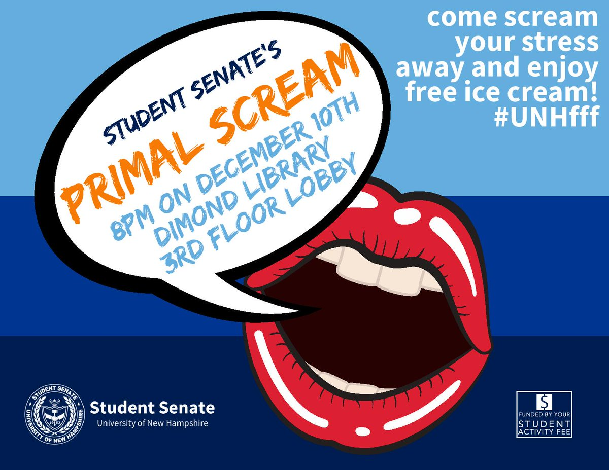Come scream away your stress😱😱😱 and get some FREE ice cream! Don't miss the annual Primal Scream hosted by the UNH Student Senate  here in the Dimond Library lobby tonight at 8:00pm, a Frazzle Free Finals event! #unhfff #ThisIsUNH #UNHLibrary