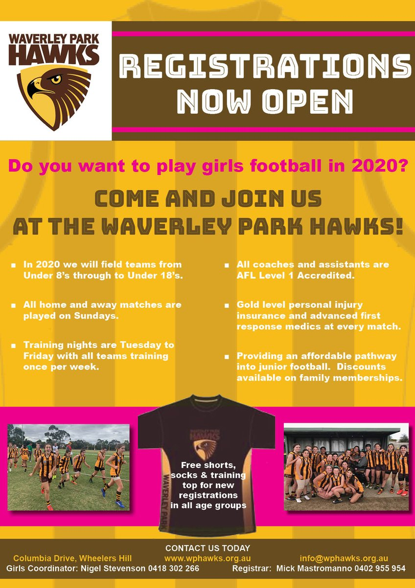 Girls do you want to play football in 2020? Come and join the Waverley Park Hawks! tinyurl.com/w36gy2q #wph #wph2020 #gohawks #girlsplaytoo #footballisforeveryone