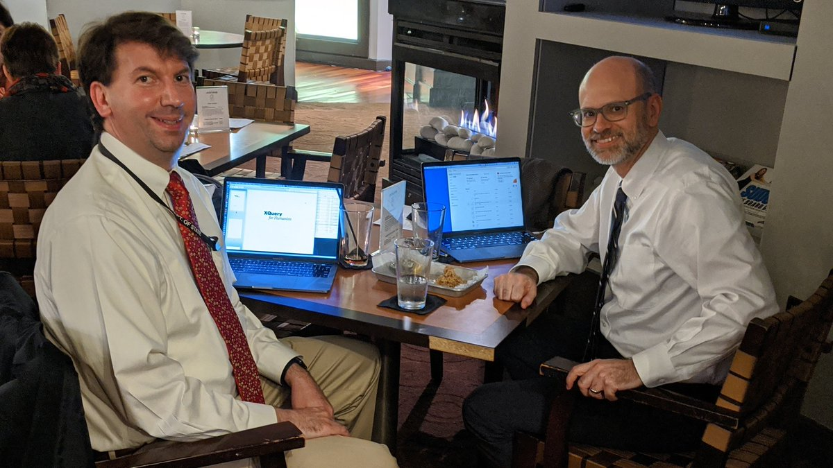Joe and Cliff reviewing the XQuery for Humanists manuscript