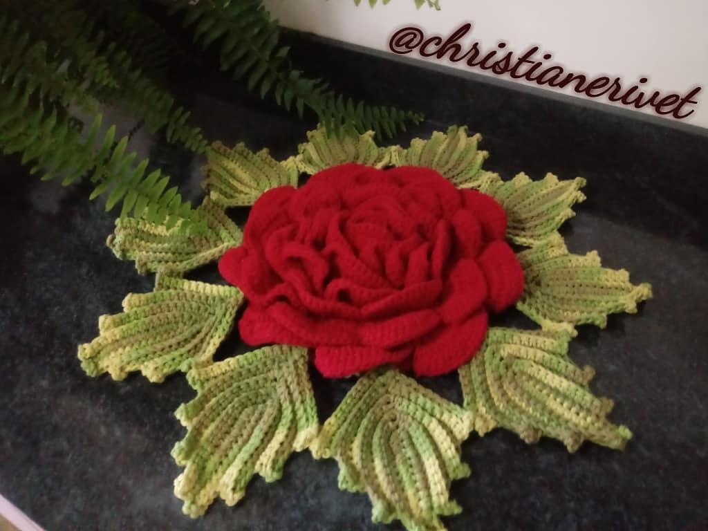 Boa noite!!! Mais uma mega flor rubi pronta... #croche #crochet #crochetlove #crochetaddict #crocheteveryday #artesanato #decorating #design #decor #trabalhos #christianerivet #handmade #feitoamao #feitocomamor #homedecoration