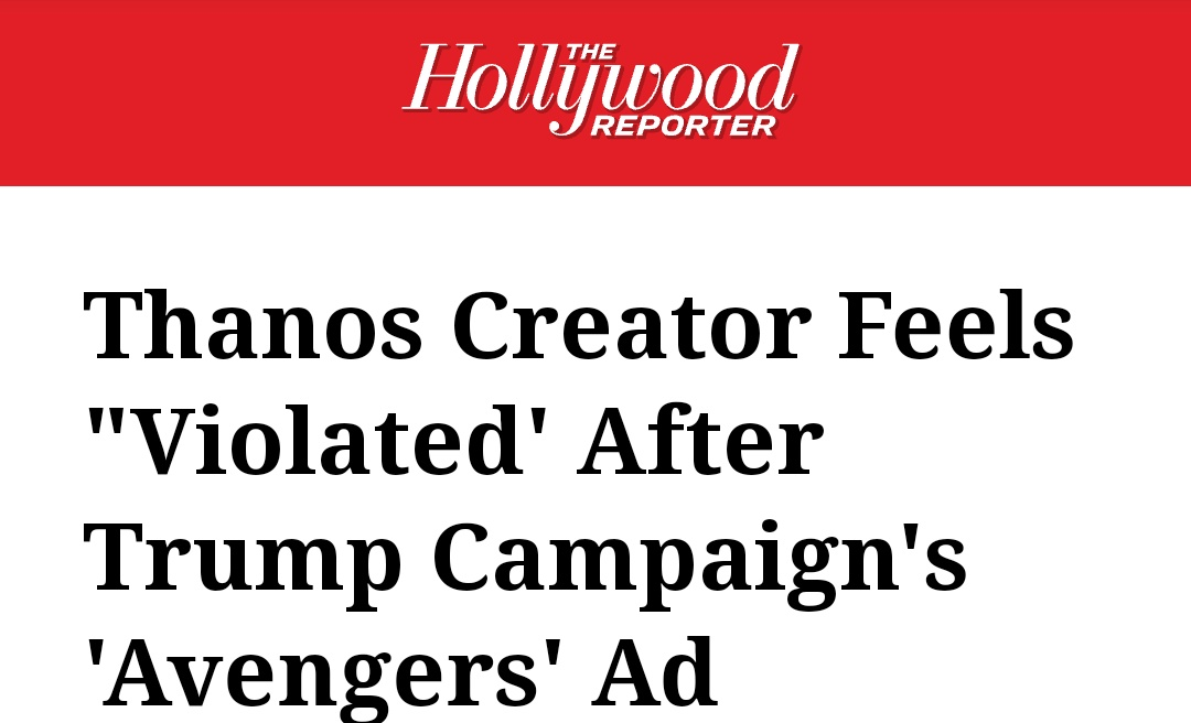 Oh shit Liberals in Hollywood are mad at Trump!!!  Walls are closing in!  https://www.hollywoodreporter.com/heat-vision/thanos-creator-feels-violated-trump-campaigns-avengers-ad-1261553  …