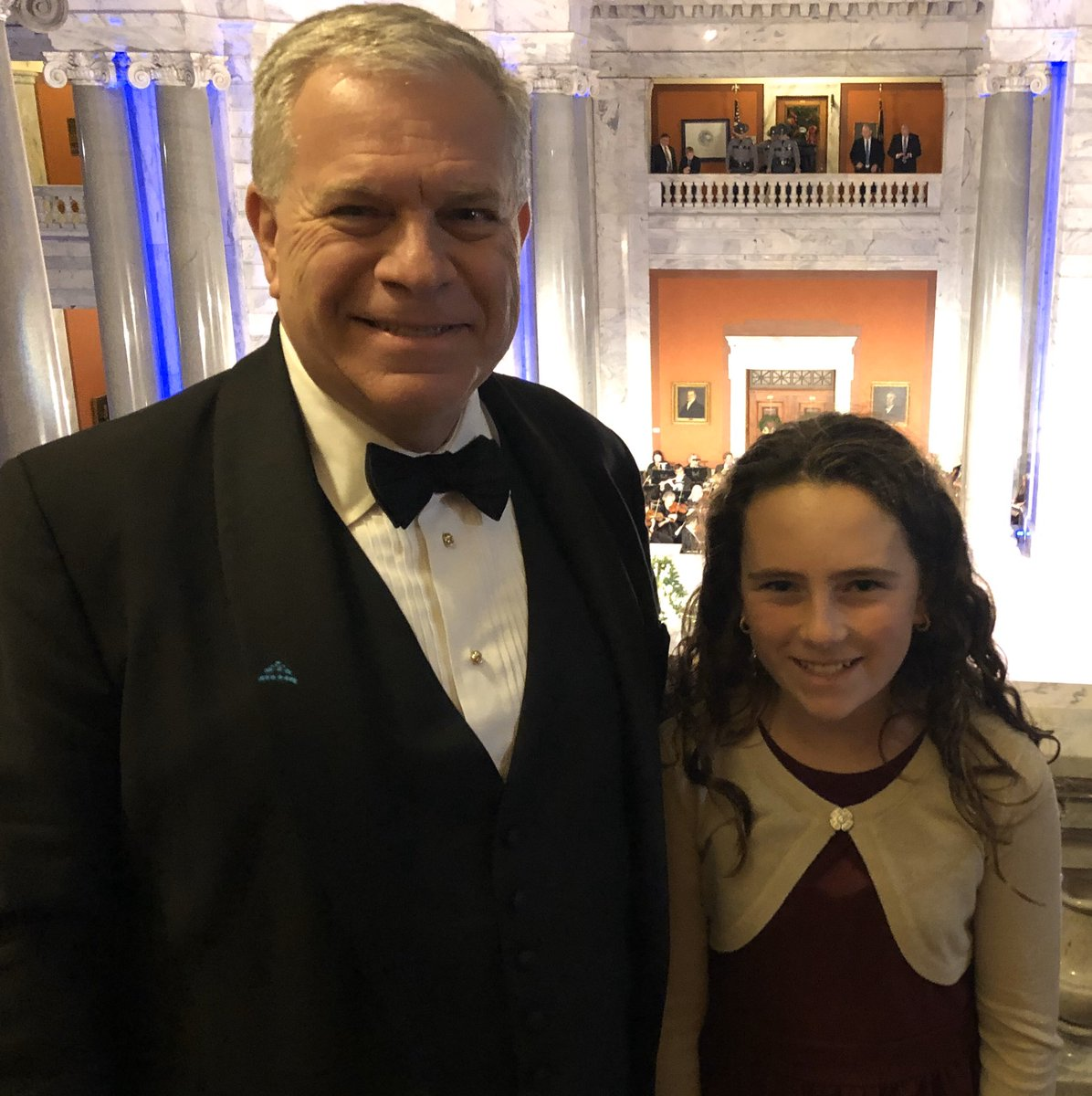 Traditional Grand March, elegant Inaugural Ball and beautiful date — granddaughter Raygan. This perfect day ended...perfectly! Thanks @GovAndyBeshear and the people of @visitfrankfort for rolling out the red carpet.  Tomorrow we get to work for #TeamKentucky #BelleoftheBall