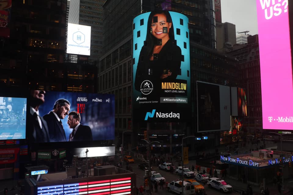 I am so proud of my friend @NeildaLikeZelda and her company @MindGlowInc for completing @nasdaqcenter's Milestone Maker program!#innovation #virtualreality #timessquare