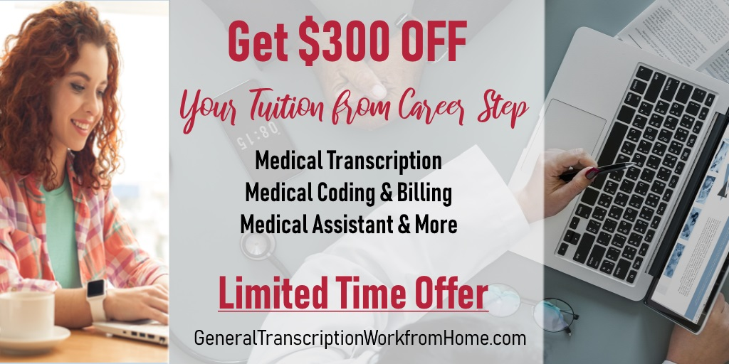 Get $300 off from Career Step for Training by 12/10. Medical Transcription; Billing & Coding. #MedicalTranscription #medicalbilling #MT #MedicalTranscription #aff http://bit.ly/1SNNr8t