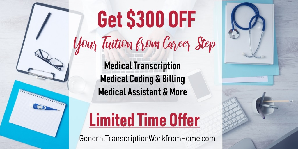 $300 off  from Career Step When Enrolling in Medical Billing / Coding / Medical Transcription. Expires 12/10 #MedicalTranscription #medicalbilling #aff https://bit.ly/2XcCFxF