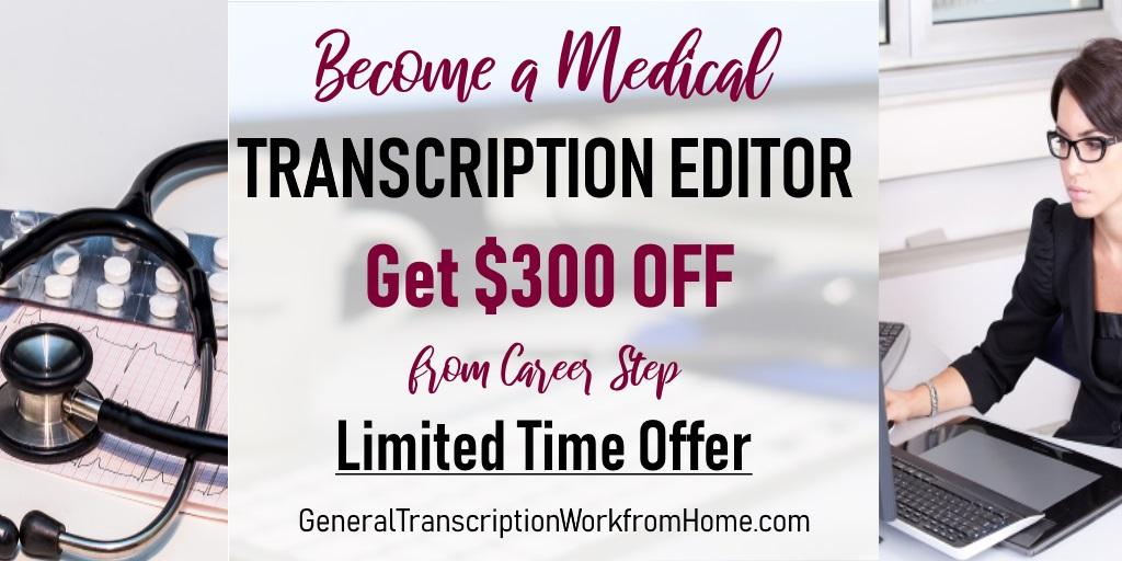 $300 off from Career Step. Medical Transcription Editor Training. Enroll by 12/10 #MedicalTranscription  #MT  #aff https://bit.ly/2Z1dped