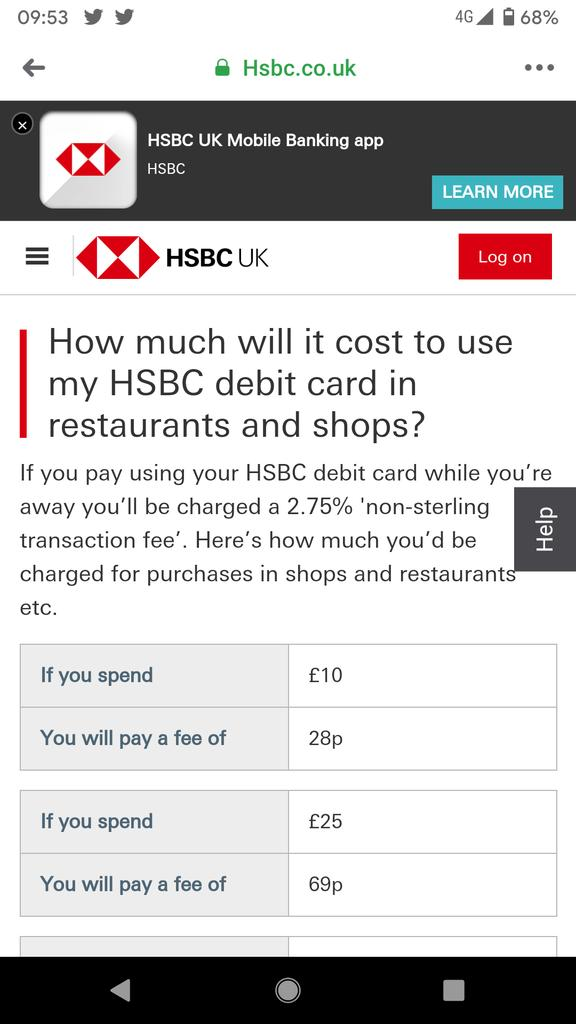 In the age of no fee foreign transactions, @HSBC_UK is advertising for me to use my debit card abroad with a full fee schedule. Good luck. This is why @RevolutApp and @monzo are winning. https://t.co/skBhY0rmZi
