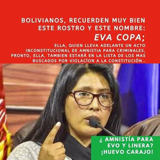 Eva Copa and her political group #MAS, are intending to pass a law that leaves free impunity for the #MASVandals that destroyed the cities of #Bolivia and tried to exploit the gas center of Senkata. #ONU #OEA #NNUU #CIDH #HumanRights  #CNNEspañol #BoliviaUnida #pititatwietera<br>http://pic.twitter.com/zXNhGAe2Fy