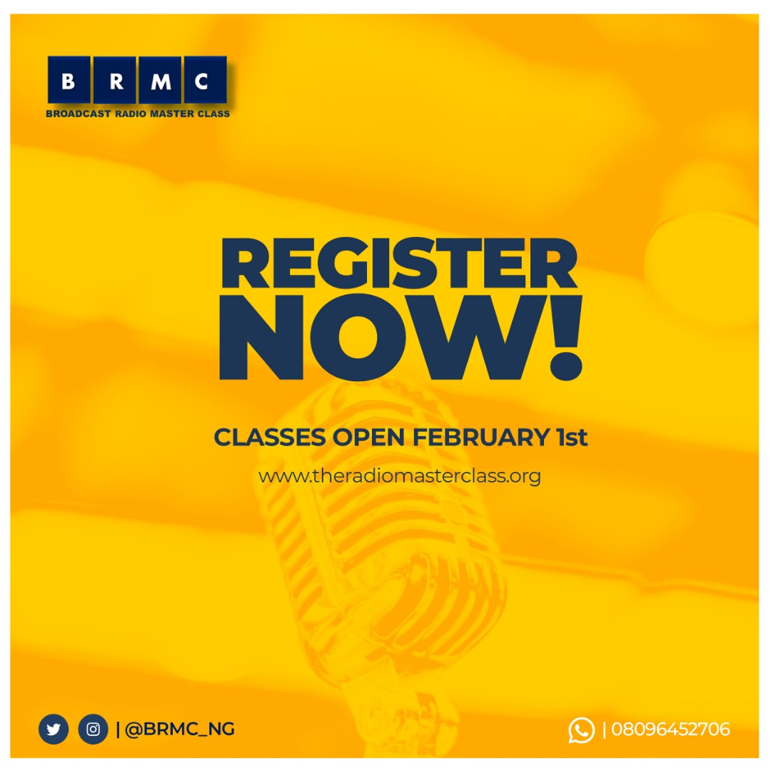 Would you like to present your own radio show, host a podcast or intern and one day work on radio?   A new session of the Radio Master Class opens February 1st 2020  REGISTRATION IS OPEN NOW!   Visit http://www.theradiomasterclass.org For details.   Follow @BRMC_NG  Whatsapp 08096452706