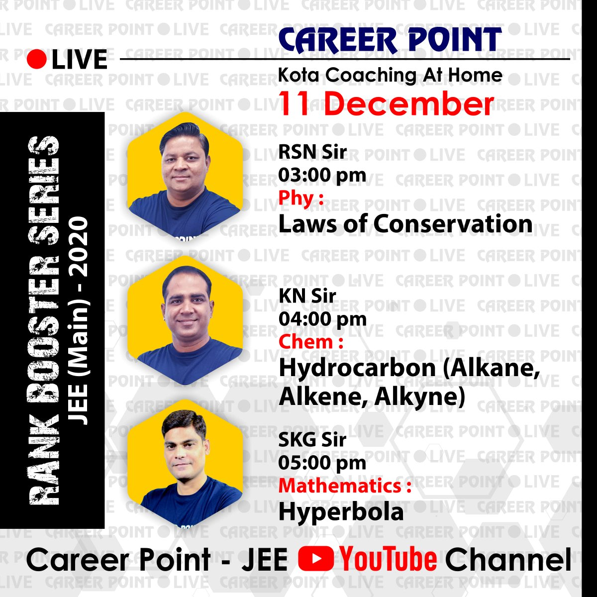 Hello JEE Aspirants!! Here comes out the schedule for #today s (11th December) #live_sessions . Set your reminders and stay tuned to our #youtube  channel.  Subscribe our channel:   http://bit.ly/CP-JEE