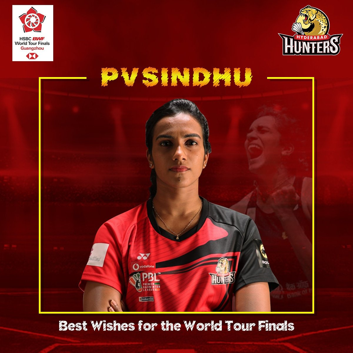The season finale is upon us and the skipper will be in the thick of it all! All best to @Pvsindhu1 for the #hsbcworldtourfinals in #ghoungzhou #hsbcbwfbadminton #HuntersArmy #HyderabadHunters #pvsindhu #indianbadminton