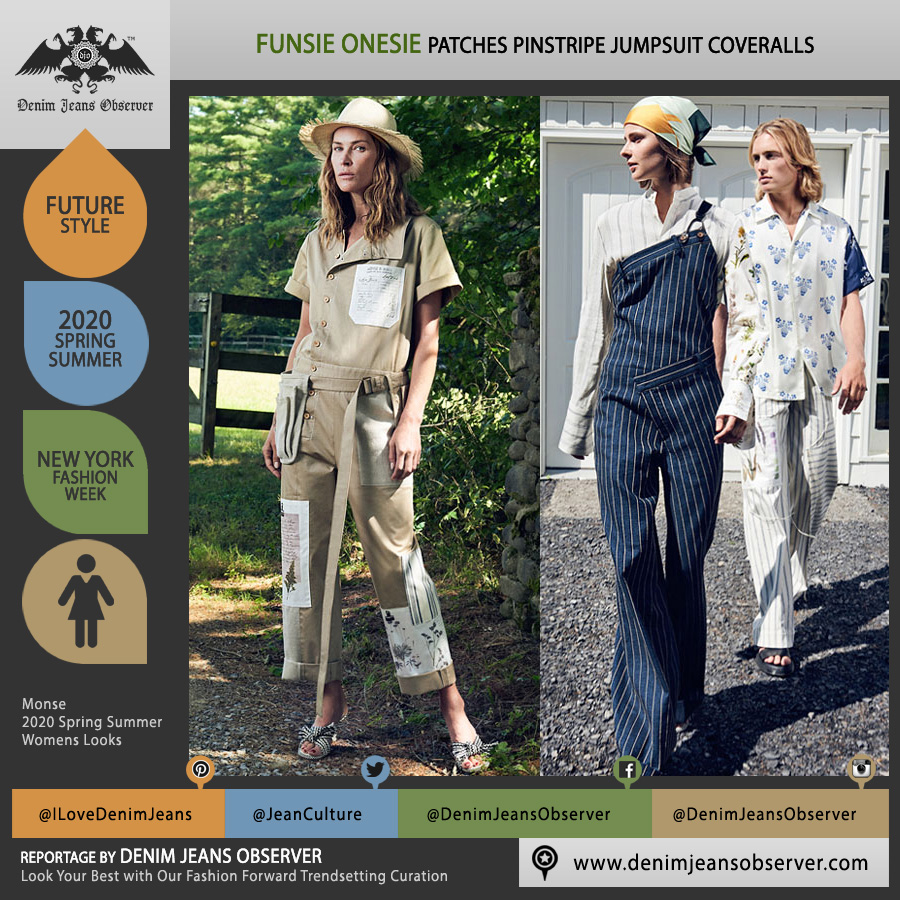 Monse 2020 Spring Summer Womens Lookbook Presentation - New York Fashion Week NYFW - Onesie Jumpsuit Coveralls Boiler Suit Overalls Patches Asymmetrical Pinstripe Head Scarf Brace Straw Hat Fanny Pack Waist Pouch - Fashion Forward Trendsetting Curation by Denim Jeans Observer