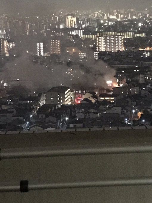 阿倍野区丸山通で火事が起きている現場の画像