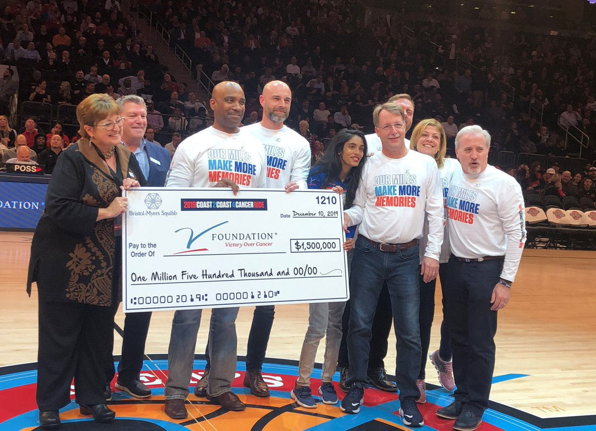 Last night @bmsnews presented a check at the #JimmyVClassic for the $1.5 million raised during this year's Coast 2 Coast 4 Cancer ride. Thank you to the entire #C2C4C team for their continued passion and commitment to supporting cancer research!