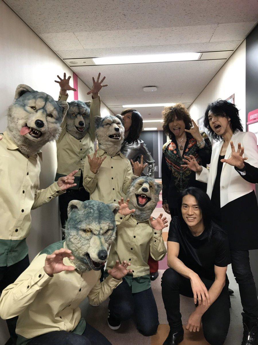 猿vs狼(「゚Д゚)「ガウガウ #FNS歌謡祭 #超緊張シタ
