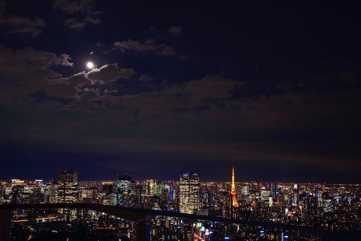 """""""東京の街が奏でる"""" #東京タワー #満月"""