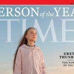 Image for the Tweet beginning: Time magazine names Greta Thunberg