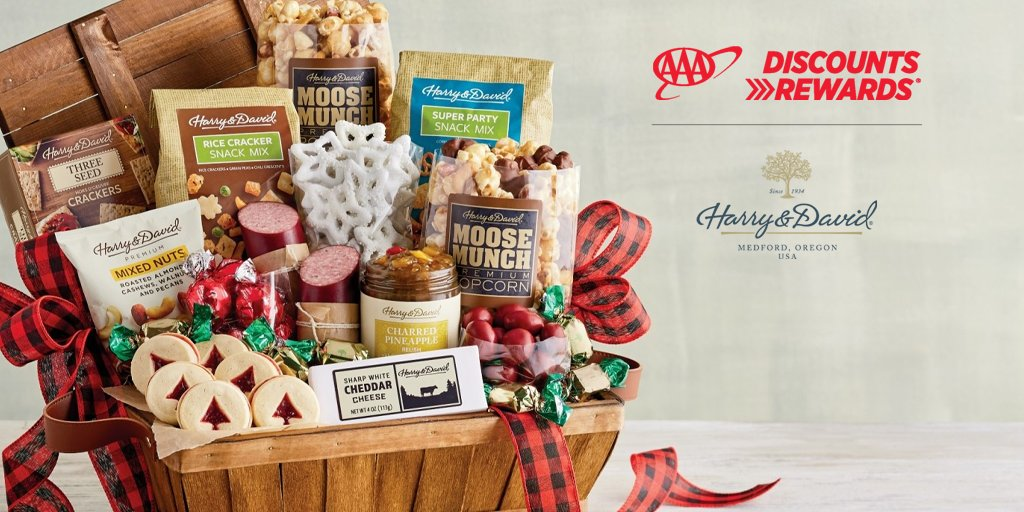 Celebrate the season of sharing with heartfelt gifts and gourmet food from the experts @HarryandDavid  .  Use #AAADiscounts code 25AAA to save 25% through 12/25.