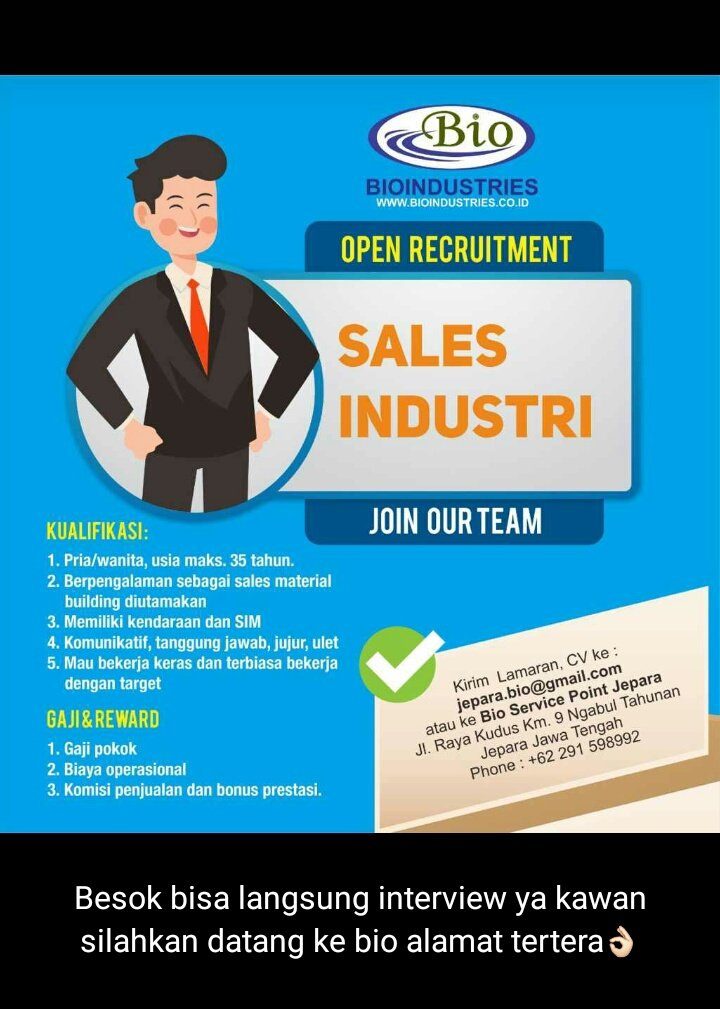 Replying to @DMTiyas_: Loker guys, datang bawa lamaran langsung interview @amelfiir @JeparaHariIni @VisitJepara @ILoveJepara
