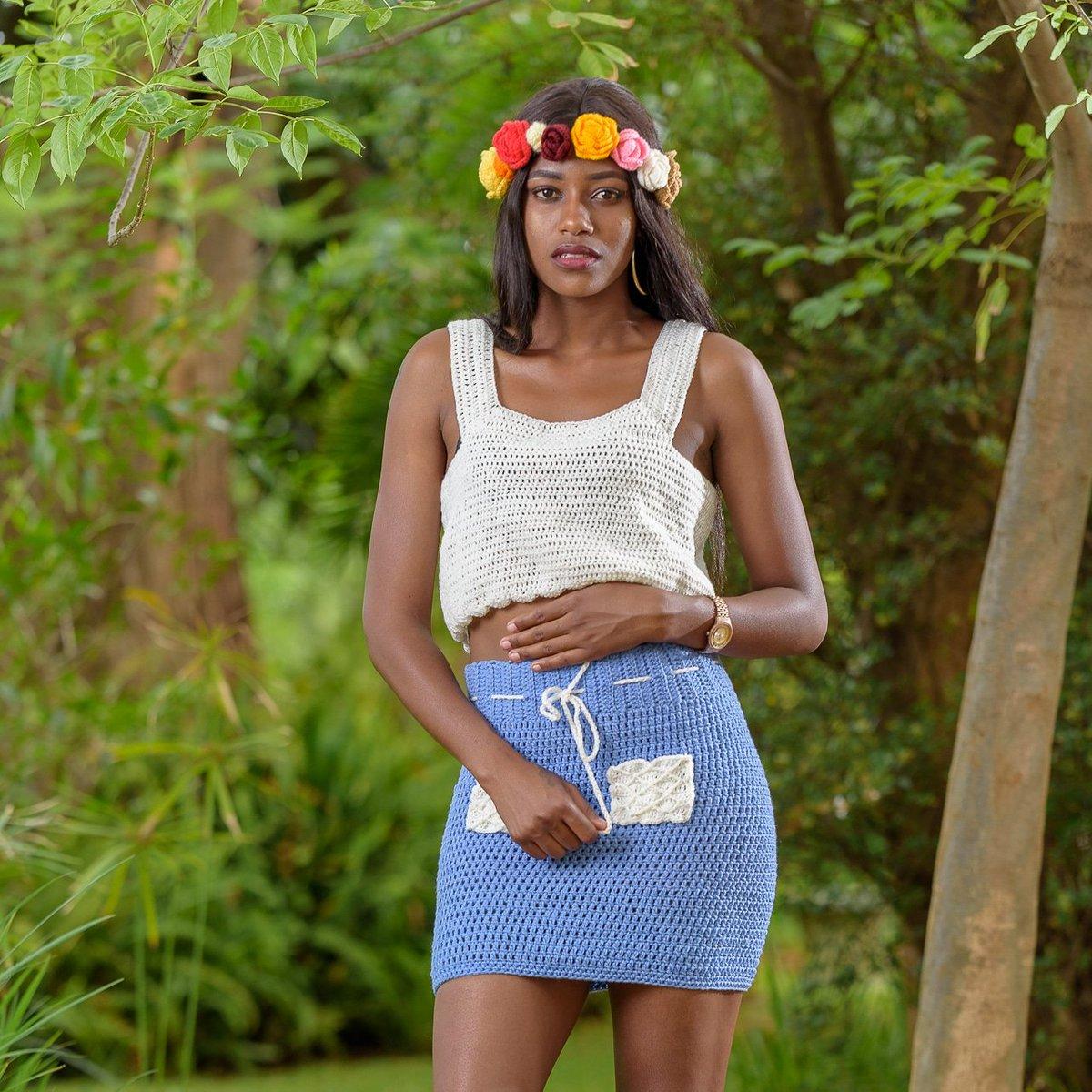 Petition to have a #mugarden video remake featuring #ellaapparel ? 😬 @winkydonline @gemmamusic_   Our model in a top to bottom ellaapparel crochet wear  #styling #fashion #fashionblogger #crochet #flowercrown #crochettop #crochetskirt #crochetaddict  #handmade   📷 @munyatsunga