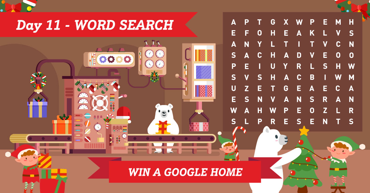 Theres just 2 days left of #ArtiesAdventureToTheNorthPole and todays prize is a Google Home! Simply find the 5 Christmas-themed words in our word search & you could #win! Enter by midnight tonight. T&Cs apply ➡️1stcentral.co/34pbOBP #12DaysOfChristmas