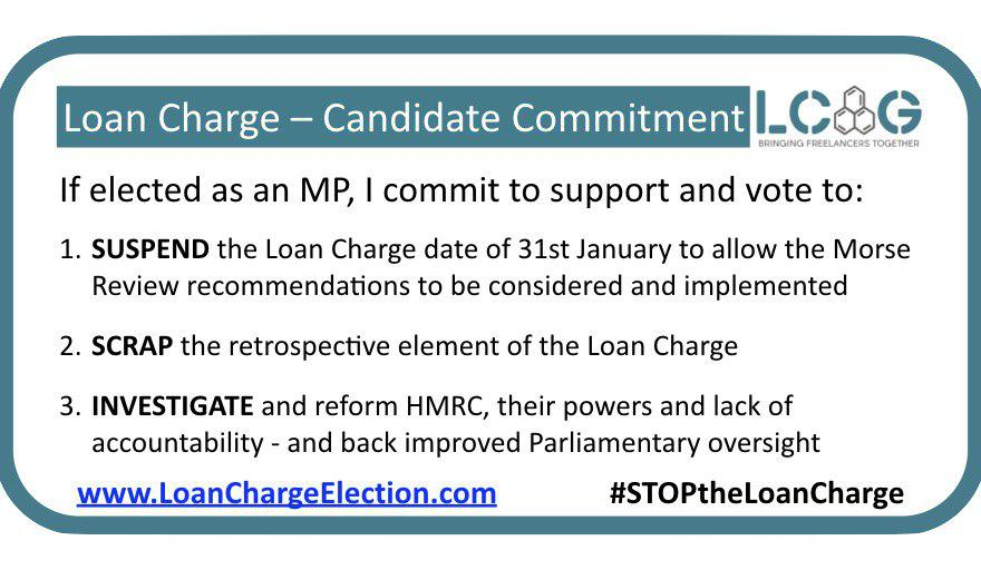 I have consistently supported efforts to suspend the Loan Charge & initiate a proper independent review into the legality & fairness to the Loan Charge. If I am re-elected, then I will continue to make representations to the Government & HMRC. #STOPtheLoanCharge @loanchargeAPPG