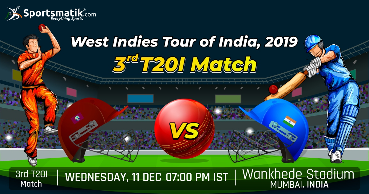 The #FinalDay Arrives! #India had #won the #1stmatch but #Windies levelled the series on #2ndmatch. Will Windies take the win in #3rdT20I? Or will India again be the #Champions?https://sportsmatik.com/sports-events/view/229/west-indies-tour-of-india-2019…