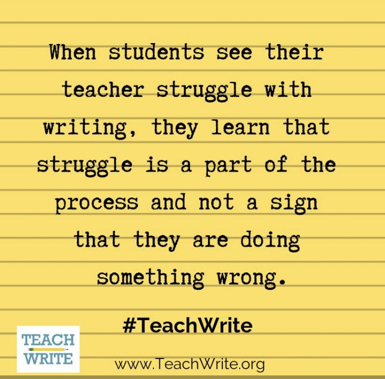 Don't try to convince them it's easy. (It's not.) Show them the struggle required to make it good! #teacherswhowrite #nctevillage #WednesdayWisdom<br>http://pic.twitter.com/IqRktCJtVC