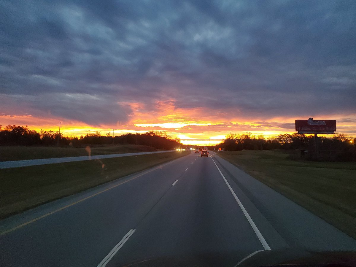 Good Morning everyone! Beautiful sunrise just outside of Columbus, GA. Rain is coming, but in the meantime, let your sunshine radiate!