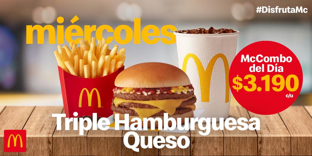 Hoy ven por el McCombo del día Triple Hamburguesa Queso por $3.190 y 🍔 Disfruta de un delicioso almuerzo ¡Te esperamos! https://t.co/ULwUu9uXQ9