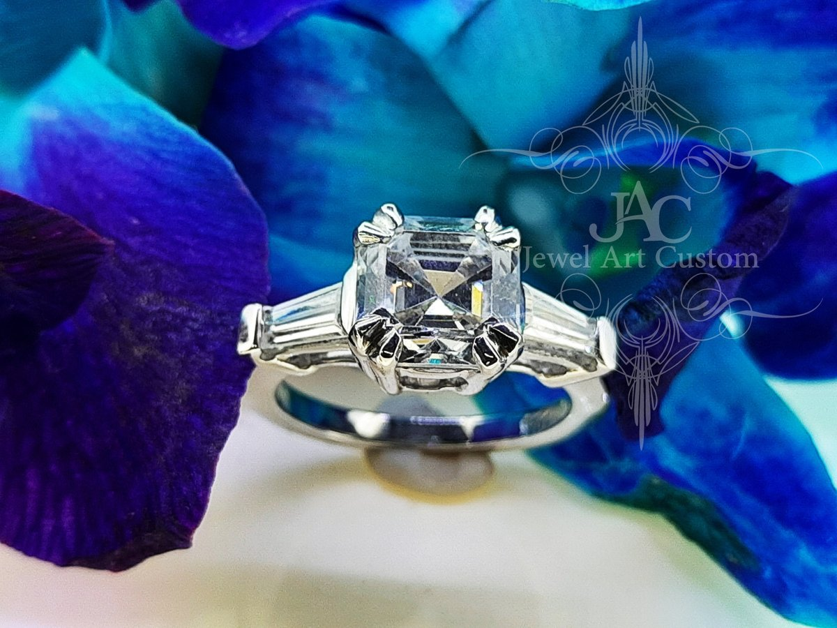 Excited to share the latest addition to my #etsy shop: Moissanite Vintage Engagement Ring, 1.50ct Real Moissanite DEF Asscher Shape Moissanite Ring, 14k / 18k White Gold Engagement Ring https://etsy.me/38vpg9F  #jewelry #ring #white #no #whitegold #yes #women #square