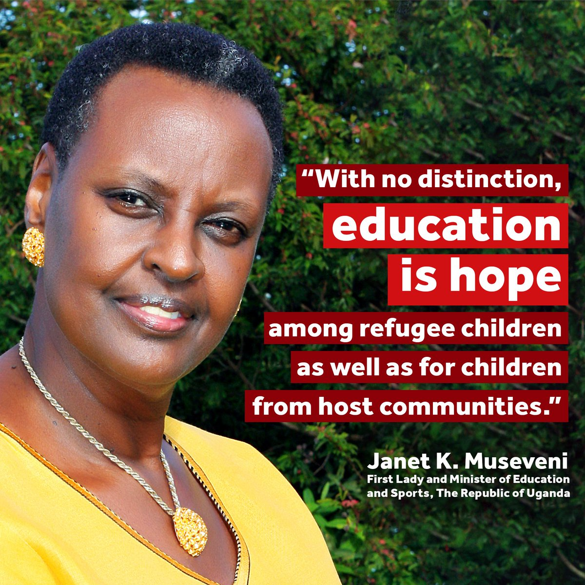 An inspiring quote from @JanetMuseveni, First Lady And Minister of Education And Sports, The Republic of Uganda. Uganda is one of the nations that will benefit from the 2019 Humanitarian Grant.#PlayMatters