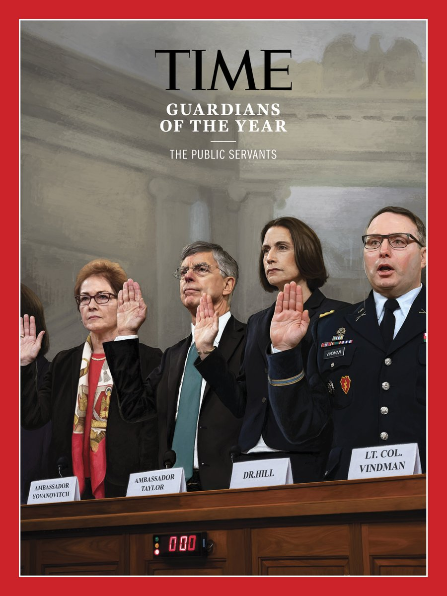 .@GretaThunberg is @TIMEs Person of the Year but check out the Guardians of the Year: The Public Servants. Pictured: Former Ambos to Ukraine Masha Yovanovitch and Bill Taylor, and former and current NSC officials Fiona Hill and Alex Vindman, respectively. time.com/guardians-of-t…