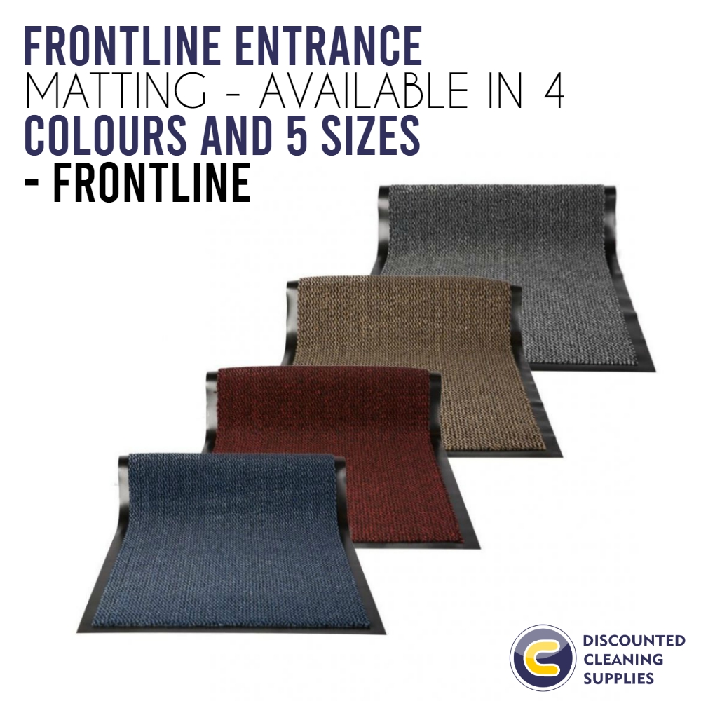 FrontLINE Entrance Matting - available in 4 colours and 5 sizes has Excellent water retention for entrances in offices, education and commercial sites. Two tone blend. ---- http://bit.ly/38qNyli  #cleaningproducts #cleaningchemicalspic.twitter.com/ge4xa5MVhY