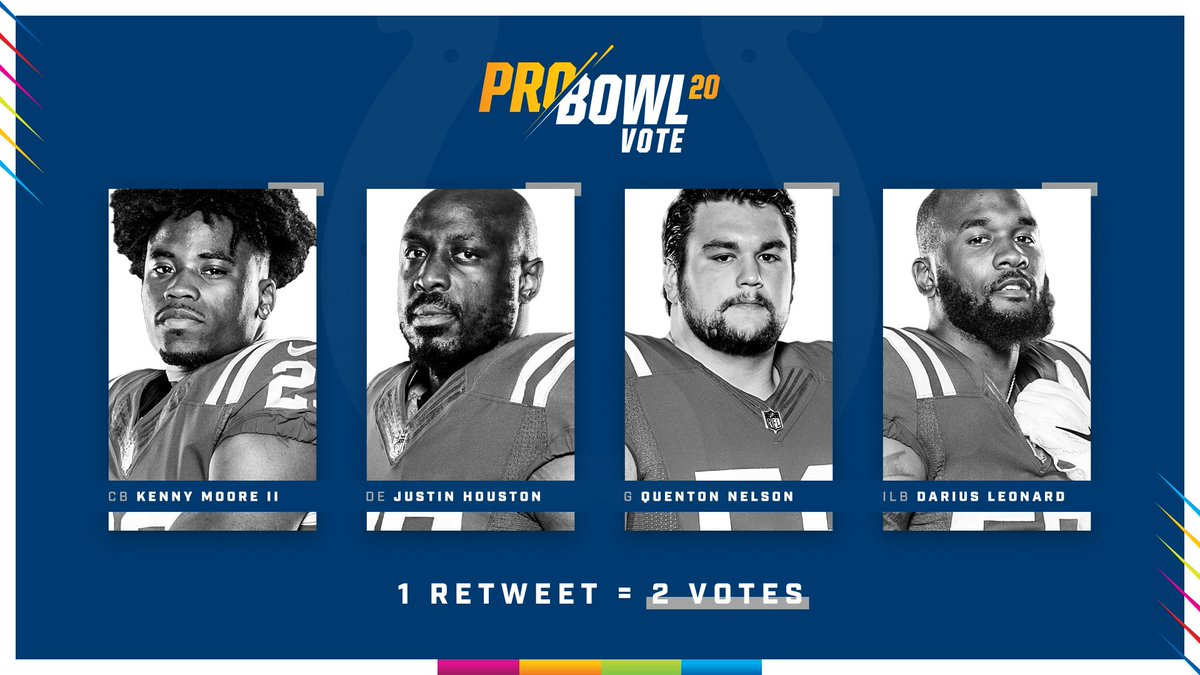 🚨 SOCIAL VOTING IS NOW WORTH 𝗗𝗢𝗨𝗕𝗟𝗘! 🚨  1 RETWEET = 2 VOTES  #ProBowlVote Kenny Moore II #ProBowlVote Justin Houston #ProBowlVote Quenton Nelson #ProBowlVote Darius Leonard