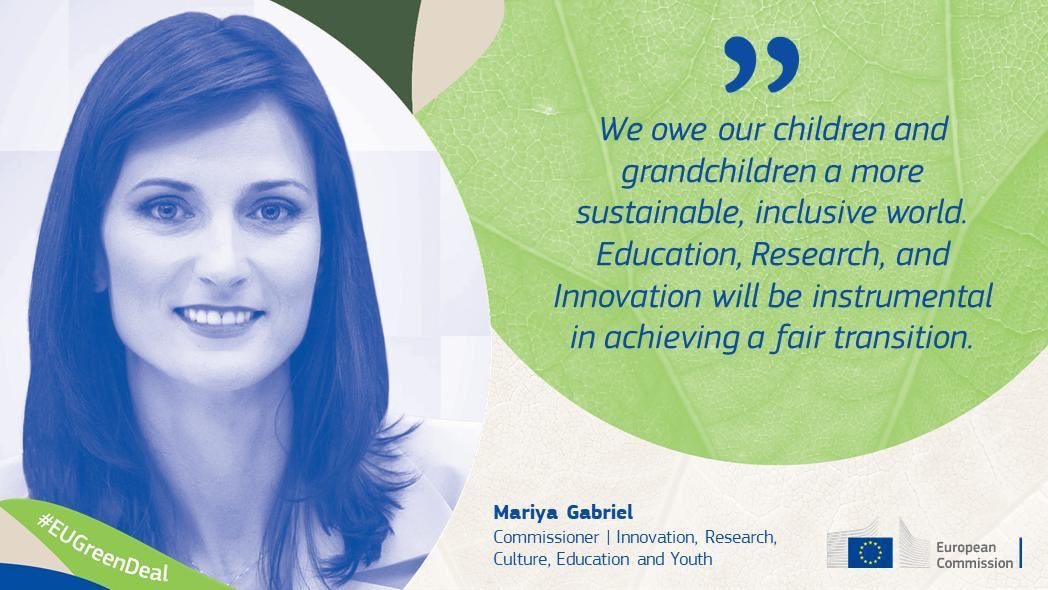 We owe our children and grandchildren a more #sustainable, #inclusive world. #Education, #Research, and #Innovation will be instrumental in achieving a fair transition. #EUGreenDeal https://t.co/Sk1Ff66gq0