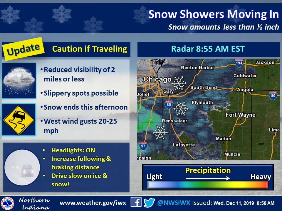 A quick-moving area of snow will move through from west to east. Snow will generally be light, but motorists should be alert for changing conditions. Accumulations, if any, are expected to be less than ½ inch. Snow will taper off this afternoon. #inwx #ohwx #miwx
