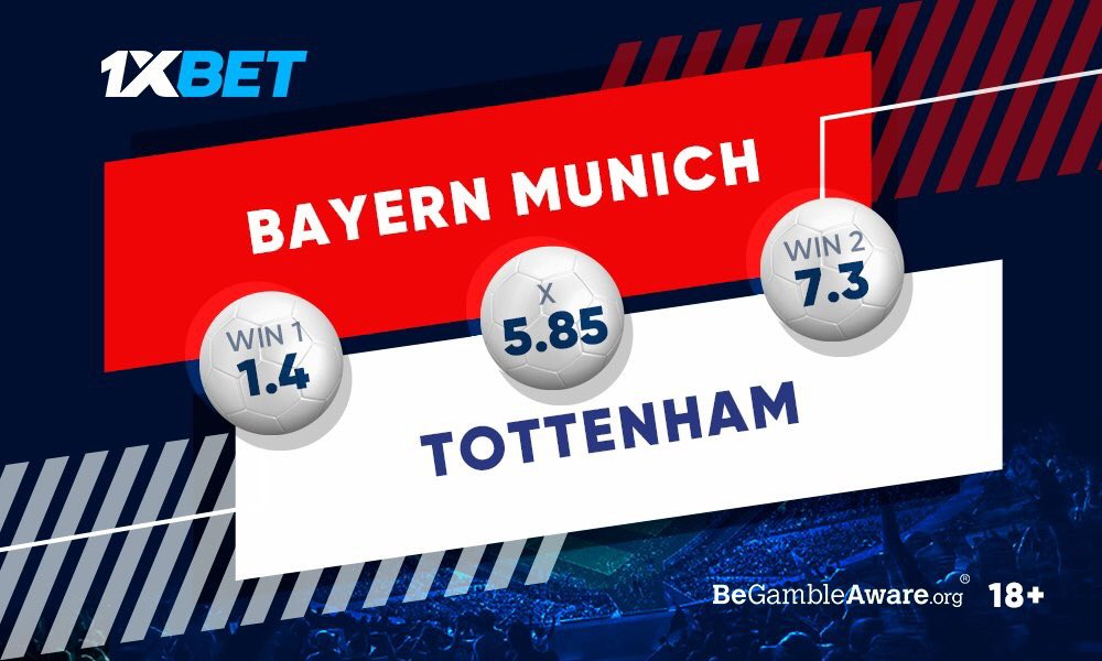 Spurs in previous #PL and #UCL matches have looked quite good, but, on the other hand, Bayern will strive to keep their 100% record in #UCL group stages. Which team will perform better today? Get involved by predicting: cutter.li/c5ByIj Follow: @1xbet_En