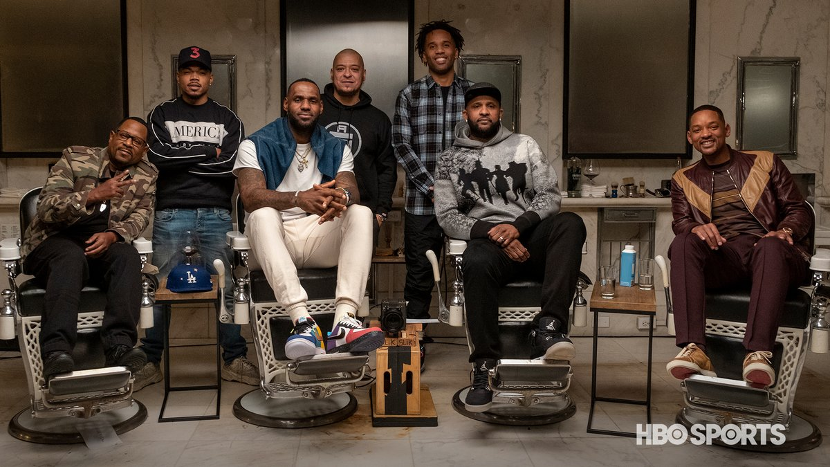 It's about that time again.  A new episode of The Shop: Uninterrupted arrives Saturday at 10 pm. Will Smith, @CC_Sabathia, Martin Lawrence, @chancetherapper, and @pr_RWTW  join @KingJames and @mavcarter. #TheShopHBO