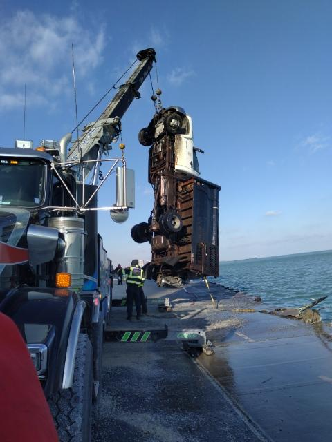 The Park District truck has been pulled from the Lake Michigan.