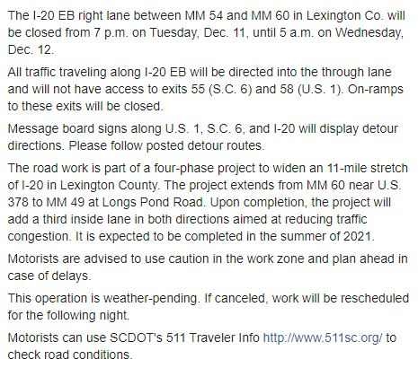 Image posted in Tweet made by SCDOT on December 11, 2019, 7:45 pm UTC