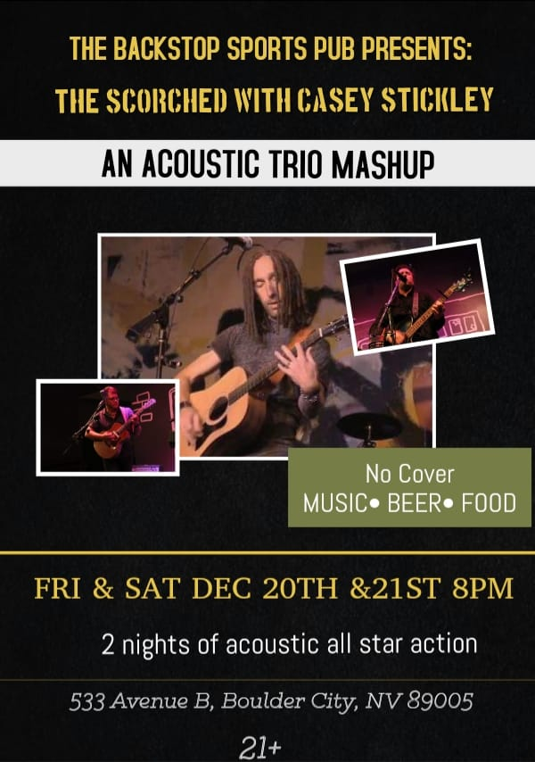 ~NEXT WEEKEND~  @kcofse of @secondechomusic joins forces with #KrisTuttle & @WadeEnoMusic from @TheScorched for 2 shows @  #BackstopSportsPub 533 Avenue B #BoulderCity, #NV  Fri, 12/20, & Sat, 12/21  Shows start @ 9:30PM NO COVER :)  #Southern #Nevada #LocalMusicScene #Live #rock https://t.co/U13vKpnVfi